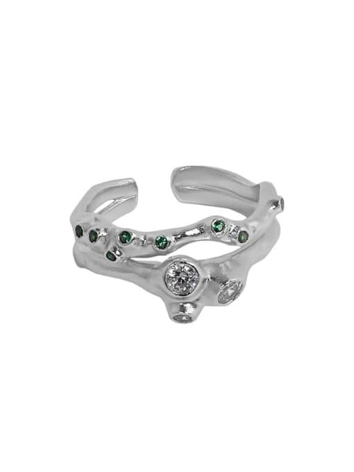 Platinum [14 adjustable 925 Sterling Silver Rhinestone Irregular Vintage Stackable Ring